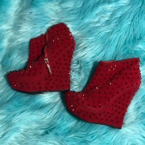 Shoes - Red suede and red spike platforms size 6